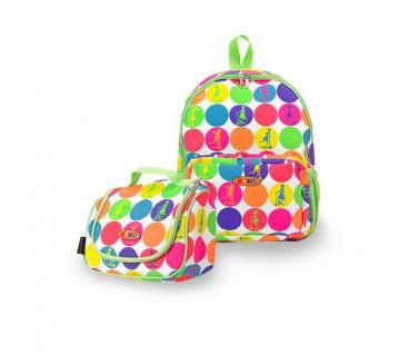 Maxi batoh a svačinová taška - neon dots