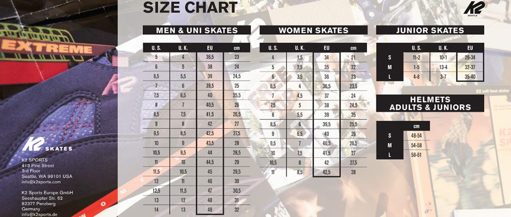 Velikostní tabulka inline bruslí K2