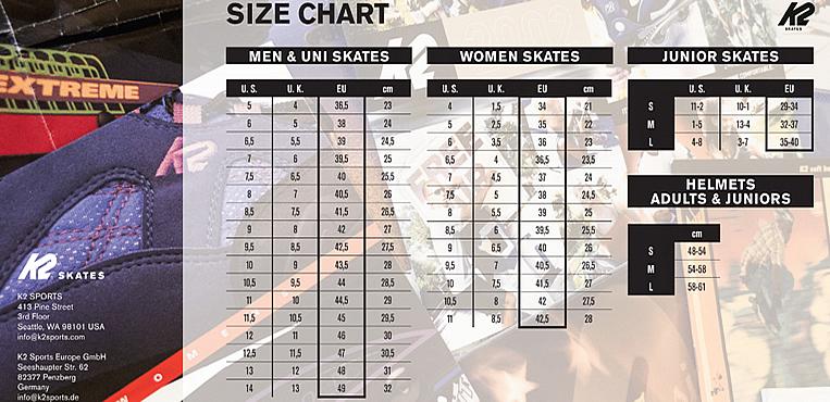 velikostní tabulka bruslí K2